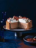 Mocha fudge cheesecake with chocolate mousse
