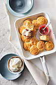 Vanilla cream scones with rhubarb-strawberry jam