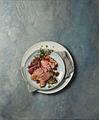 Roast duck breast with cumberland sauce