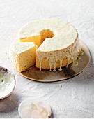 Coconut chiffon cake with lime icing
