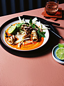 Grilled calamari, romesco and green mango salad