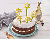 Easter cake with daffodils