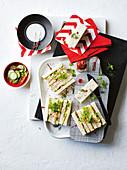 Deviled 'egg' and pickled cucumber tea sandwiches (vegan)