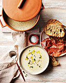 Thyme, garlic and bread soup with jamon toast