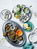Oysters with cucumber and fennel vinaigrette, Mussels with parsley, dill and lemon crumb