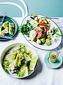 Potato pancetta salad with avocado cream, Iceberg and celery salad with lemon & anchovy dressing