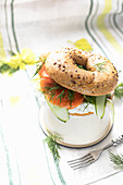 Bagel with cream cheese and smoked trout