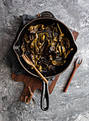 Padron peppers roasted in a pan