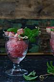 Rhubarb granita with mint