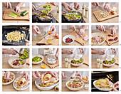 Ofengebackenes Huhn mit Leber-Lauchfüllung zubereiten