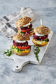 Beetroot burger with goat cheese
