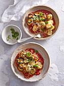Baked zucchini rolls with mozzarella