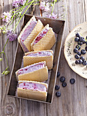 Blueberry ice-cream sandwich