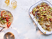 Olivenreissalat mit gegrillten Frühlingszwiebeln