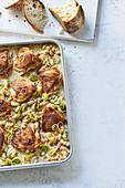 Hähnchen mit Bohnen und Lauch aus dem Ofen