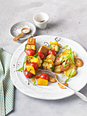 Grilled tofus kebabs with zucchini and cherry tomatoes