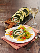 Patterned cream cheese roll with salmon and spinach
