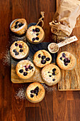 'Financier' almond muffins with blueberries