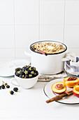 Oat porridge with butter and fresh blackberries