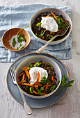 Black lentil with curcuma and poched egg