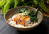 Poke Bowl with kale and chicken breast prepare