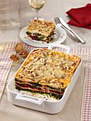 Winter-Lasagne mit Spinat, Rote Bete, Ricotta und Walnüssen