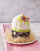 Easter motif cake in egg shape