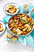 Breakfast vegetable hash with eggs