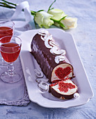 Sweet buttermilk terrine with a heart filling and chocolate icing