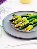 Lemon and ricotta-filled zucchini flowers