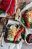 Beetroot and salt cured salmon with root vegetable slaw