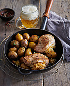 Filled pork steaks with grenailles (small potatoes)