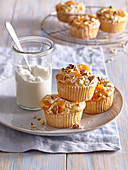 Muffins with oatmeal and dried apricots