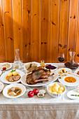Rustic buffet in the tavern