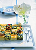 Yellow and green frittata chessboard