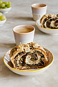 Traditional poppy seed roll and coffee
