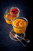 Parsnip and carrot puree with bell pepper and tomato compote