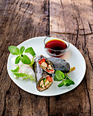 Eggplant rolls with chicken filling