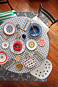 Table set with various graphic patterns