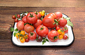 Different types of tomatoes on a vintage enamel plate