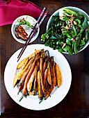 Honey and five-spice orange sweet potato and carrots