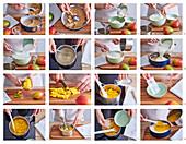 Frischkäsetorte mit Mangogelee zubereiten