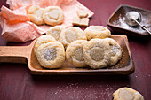 Vegan vanilla biscuits filled with a white rice milk chocolate ganache