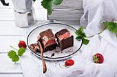 Vegan chocolate and strawberry cake