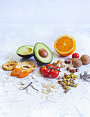 Fruit, vegetables, dried fruit, nuts and seeds
