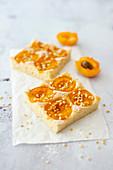 Vegan apricot tray bake cake