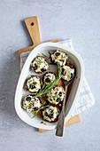 Gefüllte Pilze mit Olivencreme