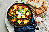 One-pot paneer chicken with spinach and tofu
