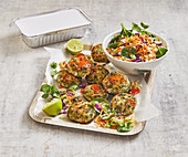 Thai fish patties with warm rice slaw