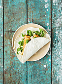 Battered haddock and pesto wrap